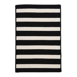 Colonial MIlls - Stripe It Up Rug, Black White Stripe, 2x3 - Wipe your feet with this striped black and white indoor or outdoor rug.