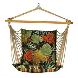 Algoma Net Company, Div. of Gleason Co - Soft Comfort Cushion Hanging Chair - Tropique Raven/Lyndhurst Raven - Enjoy all that summer has to offer from this comfortable cushioned hanging chair. Made with two different patterns of weather resistant fabric, it features foam-filled fabric on the chair and mildew-resistant polyester rope cord. Note - stand sold separately. Made in the USA.