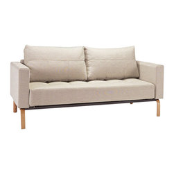 Innovation USA - Cassius Deluxe Sofa Wood Legs, Mixed Dance Natural - Perfect seating and sleeping comfort embodied in an elegant design that allows it to be free standing in the middle of a room. The deluxe styling adds a classic, modernistic character to the sofa.
