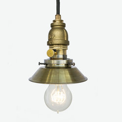 Industrial Cone Shade Rustic Pipe Pendant Light – Brass