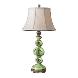 Uttermost - Uttermost Matthew Williams Table Lamp in Chocolate Bronze - Shown in picture: Heavily Antiqued - Crackled Green Glaze Over A Ceramic Base With Rust Distressing And Chocolate Bronze Details. Heavily antiqued - crackled green glaze over a ceramic base with rust distressing and chocolate bronze details. The round bell shade is an oatmeal linen fabric with natural slubbing.