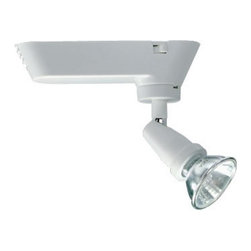 """Juno Lighting Group - MR16 Universal Low Voltage Light Head for Juno Track - T401WH - The Universal halogen spotlight can be used for an """"exposed lamp"""" aesthetic. Must be used with 50-watt MR16 bi-pin bulb with integral lens cover (not included). This product requires a transformer in order to operate. Takes (1) 50-watt halogen MR-16 bulb(s). Bulb(s) sold separately. Dry location rated."""