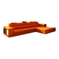 VIG Furniture - Polaris Mini - Contemporary Orange Bonded Leather Sectional Sofa - Miniature version of popular Polaris Sectional Sofa