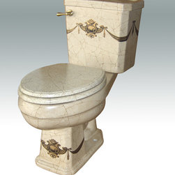 "Hand Painted Toilets by Atlantis - ""Crest d' Gold"" Painted on AP-3002 Arena II elongated toilet 16"" comfort height. This design can be painted on any of our whit fixtures."
