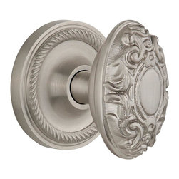 Nostalgic - Nostalgic Mortise-Rope Rose-Victorian Knob-Satin Nickel (NW-702549) - Rope Rose with Victorian Knob - Mortise