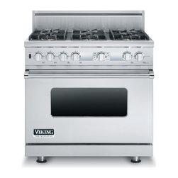 "Viking 36"" Pro-style Dual-fuel Range, Stainless Liquid Propane | VDSC536T6BSSLP - 4.9 CU FT CAPACITY SELF CLEAN OVEN"