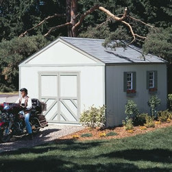 Handy Home Columbia Storage Shed - 12 x 16 ft. - If you'd had the Handy Home Columbia Storage Shed - 12 x 16 ft. when you were a kid, you could have totally had your band practice here. Today, you may need a place for your lawnmower more than you need to practice your wicked axe-work, and inside this sturdy structure with 7-foot high walls with a 10-foot peak for tall storage is a good place to start. Extra-wide double doors can be located on any side of the structure, and will give you ample room to move even large equipment in or out. The door opening measures 64W x 72H inches. The exterior of the building is factory-primed and ready to paint, and depending on your needs, this shed can be purchased with or without a floor. Detailed assembly instructions and necessary hardware are also included.About Handy HomeSince 1978, Handy Home has been making it easy and affordable for their customers to add storage sheds, gazebos and playhouses to their homes. As North America's largest producer of wooden storage and recreational building kits, Handy Home makes durable structures that require no sawing or drilling and can be delivered when and where their customers need them.