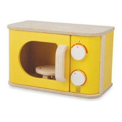 "Plantoys - Plan Toys Yellow Microwave Play Set - This bright yellow microwave is specially designed with a rotary plate plus timer and temperature adjustment knobs with clicking sounds, so your child can have a realistic experience when playing. Measures 8"" H x 13"" W x 7"" D."