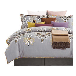 300 Thread Count Cotton Garden Duvet Cover Set - King/California King - This colorful duvet features a wonderful floral pattern. The design is bright and vibrant, it showcases a splendid floral pattern on a gray backdrop. It is reminiscent of designs found in the Middle East and South East Asia. This duvet cover set is sure to please and add style and color to your bedroom set.