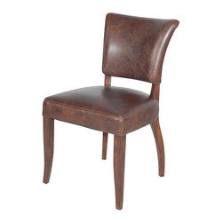 Mimi Dining Chair- Biker Tan - The finest in handcrafted leather upholstery, each piece in this vintage English club series is finished on the frame, with seven stages of staining, sealing, and buffing providing authentic distressing. Chairs 8 hours in the finishing. Richmond Chair in Biker Tan Leather has vintage inspired design. Seven stages of staining, sealing, and buffing provide authentic distressing while solid wood frame with individually tacked nail heads, antiqued with linseed oil and talc create the perfect finishing touch.
