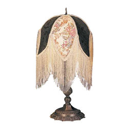 Meyda Tiffany - Meyda Tiffany Classic Table Lamp with Fabric Shade and Ivory Beads X-75091 - From the Classic Collection, this Meyda Tiffany table lamp features a fabric shade with intricate beaded fringe detailing, all in color coordinating hues of deep green and ivory. The green and floral patterned fabric has been paired with a Victorian-styled base with intricate detailing and a dark toned finish.