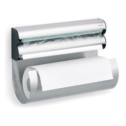 Blomus - Obar Kitchen Multi Storage Roll Holder - A little fast and smooth action between the sheets — this multistorage roll holder lets you pull out multiple lengths of foil, wax paper, plastic wrap, parchment or paper towel without awkward fumbling.