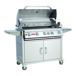 "Bull - Bull Outdoor Brahma 38"" 5-Burner SS LP Gas Grill with Infrared Back Burner - The Brahma Cart is a 38 5-Burner Stainless Steel Gas Barbecue - Infrared Back Burner. Lots of room for grilling and plenty of storage under the grill for your propane tank and tools.- 90,000 BTU's -15,000 BTU Infrared Back Burner -304, 16 Gauge Stainless Steel -Smoker Box -Dual Lined Hood -5 Cast Stainless Steel Burners -Stainless Steel Flavor Bars -Grease Tray -Heavy Duty Casters -Heavy Duty Thermometer -Rotisserie -Metal Knobs -Twin Lighting System -Weight: 281 lbs."