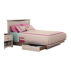 South Shore - South Shore Maddox Full / Queen Platform Storage Bed Set in Pure White Finish - South Shore - Beds - 3160217270PKG