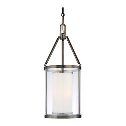 "Minka Lavery - Iron Harvard Court 12"" Wide Bronze Pendant Light - A pendant light chandelier that shines with antique-style design. Part of the Harvard Court lighting collection by Minka-Lavery the pendant comes in a bronze finish. An inner etched opal glass cylinder sits inside clear outer glass to create soft and inviting lighting. Takes three 60 watt candelabra bulbs (not included). 12"" wide. 27 1/4"" high.  Harvard Court pendant light.  By Minka Lavery.  Bronze finish.  Clear and etched opal glass.  Takes three 60 watt candelabra bulbs (not included).   12"" wide.   27 1/4"" high."