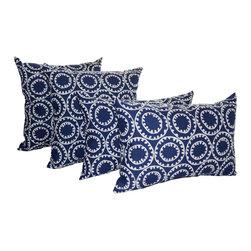 Land of Pillows - PKaufmann Ring A Bell OUTDOOR Decorative Mandala styleThrow Pillow - Set of 4, N - Fabric Designer - P Kaufmann