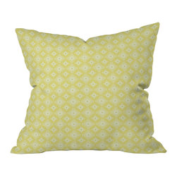 "DENY Designs - Caroline Okun Yellow Spirals Throw Pillow, 18x18x5 - You won't want to ""throw"" this pillow; you'll want to hold it tight. Yellow concentric circles in different sizes overlap against an ivory background to add cheerful color and fun yet subtle pattern to perk up any sofa or bed. Printed on woven polyester front and back, the pillow includes a zipper closure with bun insert. Great for just about any decorating style, so you can grab hold of a few."