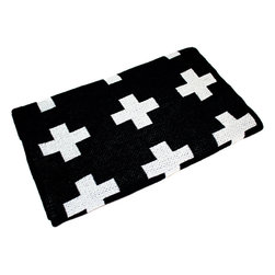 Eco Cross Baby Blanket, Black/Cream - Drape a bold black and cream cross blanket over the rails of the crib for a put-together look.