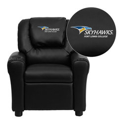 "Flash Furniture - Fort Lewis College Skyhawks Embroidered Black Vinyl Kids Recliner - Get young kids in the college spirit with this embroidered college recliner. Kids will now be able to enjoy the comfort that adults experience with a comfortable recliner that was made just for them! This chair features a strong wood frame with soft foam and then enveloped in durable vinyl upholstery for your active child. This petite sized recliner is highlighted with a cup holder in the arm to rest their drink during their favorite show or while reading a book.; Fort Lewis College Embroidered Kids Recliner; Embroidered Applique on Oversized Headrest; Overstuffed Padding for Comfort; Durable Black Vinyl Upholstery; Easy to Clean Upholstery with Damp Cloth; Cup Holder in armrest; Solid Hardwood Frame; Raised Black Plastic Feet; Intended use for Children Ages 3-9; 90 lb. Weight Limit; Meets or Exceeds CA117 Fire Resistance Standards; Safety Feature: Will not recline unless child is in seated position and pulls ottoman 1"" out and then reclines; Assembly Required: Yes; Country of Origin: China; Warranty: 2 Years; Dimensions: 27""H x 24""W x 21.5 - 36.5""D"