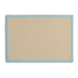 Beige Pinstripe Tailored Placemat Set - Class up your table's act with a set of Tailored Placemats finished with a contemporary contrast border. So pretty you'll want to leave them out well beyond dinner time! We love it in this light tan & ivory woven cotton pinstripe for a preppy classic accent.