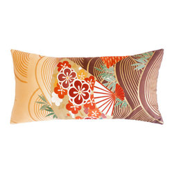 SARAH MILLER - GOLD and BROWN FAN Pillow - Size: 22 x 11 inches