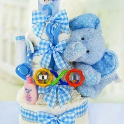 Gingham & Giggles Three Tier Diaper Cake - Boy