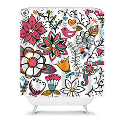 Shower Curtain Flower Orange Coral 71x74 Bathroom Decor Made in the USA - DETAILS: