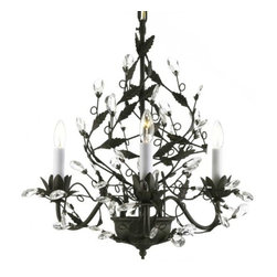 "The Gallery - BLACK WROUGHT IRON CHANDELIER CHANDELIERS LIGHTING WITH FACETED CRYSTAL LEAVES - Majesty Collection 100% Crystal Chandelier. A Great European Tradition. Nothing is quite as elegant as the fine crystal chandeliers that gave sparkle to brilliant evenings at palaces and manor houses across Europe. This beautifully unique, one-tier version from the Majesty Collection has 3 lights and is decorated with elegant finial and leaf designs and is accented with 100% Crystal that capture and brilliantly reflect the light of the candle bulbs. The timeless elegance of this chandelier is sure to lend a special atmosphere anywhere its placed! SIZE: WD 18.5"" X HT 18"" LIGHTS: 3 lights"