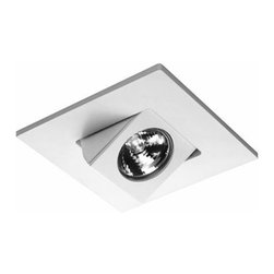"WAC Lighting - D416 4"" Die-Cast Aluminum Trim by WAC Lighting - A square directional spot that allows a 30 degree adjustment from vertical. The WAC Lighting D416 4"" Die-Cast Aluminum Trim has adjustable aiming capabilities, which provide versatility for a wide range of accent and task applications. Features a clear tempered glass lens and die-cast aluminum construction. WAC Lighting, founded in 1984, has developed a strong reputation for high quality decorative and task lighting. Based in Garden City, New York, WAC Lighting is a leading manufacturer of low voltage, line voltage and LED lighting, including track systems, transformers, lamps, cabinet lighting and recessed downlights."