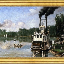 """William Aiken Walker-14""""x28"""" Framed Canvas - 14"""" x 28"""" William Aiken Walker Wooding up on the Bayou framed premium canvas print reproduced to meet museum quality standards. Our museum quality canvas prints are produced using high-precision print technology for a more accurate reproduction printed on high quality canvas with fade-resistant, archival inks. Our progressive business model allows us to offer works of art to you at the best wholesale pricing, significantly less than art gallery prices, affordable to all. This artwork is hand stretched onto wooden stretcher bars, then mounted into our 3"""" wide gold finish frame with black panel by one of our expert framers. Our framed canvas print comes with hardware, ready to hang on your wall.  We present a comprehensive collection of exceptional canvas art reproductions by William Aiken Walker."""