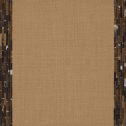 """Loloi Rugs - Loloi Rugs Timboroa/Hemingway Collection - Natural/Saddle, 5'-0"""" x 7'-6"""" - The Timboroa Collection evokes a sense of rugged adventure, along with a certain level of modern simplicity. Made in China of flat woven sisal and a hand stitched natural cowhide border, this versatile collection settles nicely in a cozy cabin setting, or adds a touch of southwestern appeal to any space."""
