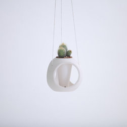 Hanging Sphere Porcelain Planter by Tokyo Craft Studios - Charming and simple, this handmade plant holder will add a little something to any small space. It can be hung or placed on a windowsill.