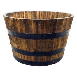 Real Wood 26-Inch Half Whiskey Barrel Planter - A classic wooden planter is perfect for the traditional gardener. Place it next to the stairs leading up to your front door or on the edge of your garden.