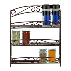 home basics - Bronze Three-Tier Spice Rack - Store spices in style with this three-tier rack that features a durable construction and charming filigree design.   11'' W x 12.25'' H x 2.7'' D Metal Imported