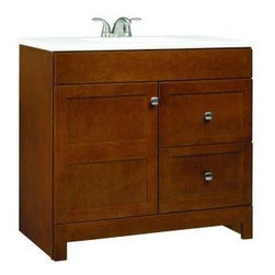 RSI Home Products - RSI Home Products Artisan Vanity with Cultured Marble Vanity Top (PPARTCHT36DY) - RSI Home Products PPARTCHT36DY Artisan 36 in. Vanity with Cultured Marble Vanity Top, Chestnut