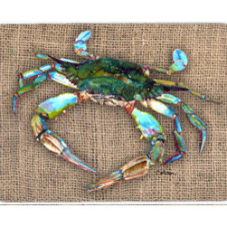 Caroline's Treasures - Crab Kitchen Or Bath Mat 24X36 - Kitchen / Bath Mat 24x36 - 24 inches by 36 inches. Permanently dyed and fade resistant. Great for the Kitchen, Bath, outside the hot tub or just in the door from the swimming pool.    Use a garden hose or power washer to chase the dirt off of the mat.  Do not scrub with a brush.  Use the Vacuum on floor setting.  Made in the USA.  Clean stain with a cleaner that does not produce suds.