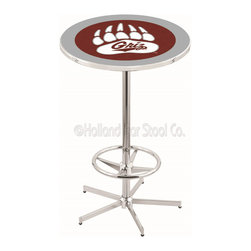 Holland Bar Stool - Holland Bar Stool L216 - 42 Inch Chrome Montana Pub Table - L216 - 42 Inch Chrome Montana Pub Table  belongs to College Collection by Holland Bar Stool Made for the ultimate sports fan, impress your buddies with this knockout from Holland Bar Stool. This L216 Montana table with retro inspried base provides a quality piece to for your Man Cave. You can't find a higher quality logo table on the market. The plating grade steel used to build the frame ensures it will withstand the abuse of the rowdiest of friends for years to come. The structure is triple chrome plated to ensure a rich, sleek, long lasting finish. If you're finishing your bar or game room, do it right with a table from Holland Bar Stool.  Pub Table (1)