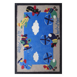 Rug - ~4 ft x 6 ft. Blue Kids Bedroom Area Rug with Plane Designs , Soft & hand-tufted - ZOOMANIA KIDS COLLECTION