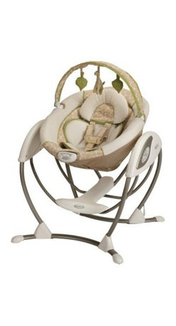 Graco Glider LX - Raffy - Your baby will enjoy the gentle rocking motion of the Graco Glider LX - Raffy. Designed to mimic the same gentle motion you use when cuddling and comforting your baby your nursery glider your little one will love the familiar feel and cozy environment this swing duplicates. With two vibration settings a roomy seat a removable plush body support three recline positions and music you'll be able to find the perfect combination to soothe your child. The frame is made to use 40% less space than other leading swings so it can fit easily in almost any room in your home. Additional Features 3 recline positions Plays music for your baby's entertainment About GracoWhen Russell Gray and Robert Cone joined forces in 1942 baby products were not their focus. The pair originally formed Graco Metal Products in Philadelphia Penn. The firm manufactured machine and car parts for local manufacturers for 11 years. Gray left in 1953 leaving Cone as sole owner and Cone got the idea to manufacture baby products from a Graco employee David Saint father of 9. Inspired by the idea of Mrs. Saint soothing her babies on the backyard glider the Graco Swyngomatic was born. The Swyngomatic sold millions catapulting Graco to become a leader in manufacturing juvenile products in the process. Since then Graco has set the industry standard with products like the Pack N' Play and the Travel System. Graco is one of the world's best known and most trusted juvenile products companies. Product safety quality reliability and convenience are their main sources of pride and are recognized by parents and parenting authorities alike.