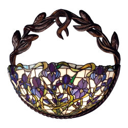 Meyda Tiffany - Meyda Tiffany Iris Tiffany Wall Sconce X-65956 - The Meyda Tiffany Iris wall sconce will highlight any interior space with this elegant decorative light fixture. Characteristics include a beautiful leaf and stem design finished in brilliant mahogany bronze featuring a mosaic glass lampshade with stunning color. The shade showcases a flower garden pattern with purple iris flowers and foliage.