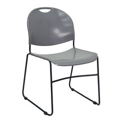 Flash Furniture - Compact Stack Chair w Textured Seat and Back - With a crested back and convenient handle, this stackable chair goes wherever you need it - and stores easily when not in use. Contoured plastic seat & back have gray finish to offset black metal sled base. A great option for get-togethers and everyday use. High density stack chair. Stacks up to 13 high on the ground or 40 high on available stack chair dolly. Gray polypropylene seat and back. Injection molded and textured seat and back. Carrying handle for easy movement. Non - fade infused gray color. No - skid floor glides. Black powder coat finished frame. Sled base. Front cross - brace support. Seat: 17 5/8 in. W x 17 3/8 in. D x 17 in. H. Back: 17 5/8 in. W x 15.5 in. H. Overall: 19.5 in. W x 20 3/4 in. D x 31 in. H