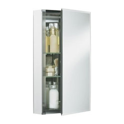 "... Door 15""W x 26""H x 5""D Aluminum Cabinet with Square Mirrored Door"