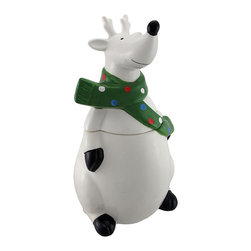 n/a - White Ceramic Reindeer Cookie Jar Canister - This festive fellow is an adorable addition to your kitchen countertop throughout the holiday season. Made of ceramic, this reindeer cookie jar measures 13 inches tall, 7 1/4 inches wide, and 7 1/4 inches long. Store your favorite holiday cookies inside, or special candies, mints, or treats. This piece makes a great gift that is sure to be loved, year after year.