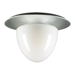 PLC Lighting - PLC Lighting PLC 67018 3 Light Down Lighting Flushmount Ceiling Fixture - Contemporary / Modern 3 Light Down Lighting Flushmount Ceiling Fixture from the Milo CollectionThe Milo collection has a Contemporary / Modern appeal. The three light down Lighting Semi-Flush Ceiling fixture has a half oval and white shade shape displaying a simple and clean look in hallways or entry way. This fixture also provides ambient lighting.Specifications: