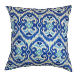 The Pillow Collection - Zhambyl Ikat Pillow Ocean - Exquisite and unique, this accent pillow will draw everyone's attention when placed in your living room or bedroom. This square pillow features an electrifying vibe with its blue hues. This decor pillow comes with an elaborate ikat print pattern. Combine solids and textured pillows with this plush decor piece for a unique decor style. Made from 100% high-quality cotton fabric. Hidden zipper closure for easy cover removal.  Knife edge finish on all four sides.  Reversible pillow with the same fabric on the back side.  Spot cleaning suggested.