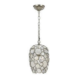 """Crystorama - Crystorama Palla 8 1/2"""" Wide Antique Silver Pendant Light - The Crystorama Palla Collection is the perfect balance between vintage and modern. This sparkling pendant light features natural white capiz shells and hand-cut crystals affixed to the antique silver finish wrought iron frame. This fun and elegant lighting fixture will add a fascinating element to your decor. Wrought iron construction. Antique silver finish. Natural white capiz shell. Hand-cut crystals. Takes one 100 watt medium base bulb (not included). 8 1/2"""" wide. 13 3/4"""" high.  Wrought iron construction.   Antique silver finish.   Natural white capiz shell.   Hand-cut crystals.   Takes one 100 watt medium base bulb (not included).   8 1/2"""" wide.   13 3/4"""" high."""
