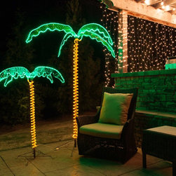 Rope Light Palm Trees - LED lighted palm trees illuminate the backyard space while staying cool to the touch. Varying in sizes from 2.5 feet to 7 feet, these brightly-lit trees have fronds and a trunk covered in a holographic material. Their green and yellow LED rope lights are long-lasting.