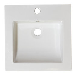 American Imaginations - 16.5-in. W x 16.5-in. D Ceramic Top - It features a square shape. This ceramic top is designed to be installed as an drop in ceramic top. It is constructed with ceramic. It is designed for a single hole faucet. The top features a 0.75-in. profile thickness. This ceramic top comes with a enamel glaze finish in White color. Slim modern profile square white ceramic top. Can be installed as a counter top on a cabinet. This Ceramic Top features Stainless Steel hardware. Double fired and glazed for durability and stain resistance. Quality control approved in Canada and re-inspected prior to shipping your order