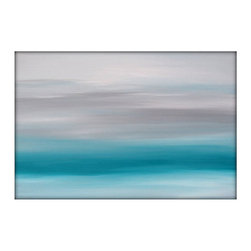 Abstract Seascape Landscape Original Acrylic Modern Painting on Canvas 36x48 - Original Minimalist Abstract Seascape Painting
