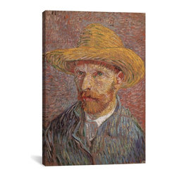 Vincent van Gogh Canvas Print, Self Portrait with a Straw Hat 1887 - Museum-quality canvas print by Vincent van Gogh gallery wrapped and ready for wall hanging with no additional framing required. The canvas print is remarkably bright in color and unrivaled in detail with quality ink that has been light-tested to last over 100 years!